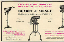 BENOIT & MENEY INSTALLATIONS SALON COIFFURE PARIS PUBLICITE PUB 1929 FRENCH AD