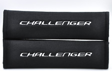 Embroidery White on Black Seat Belt Cover Shoulder Pad Pair for Dodge Challenger