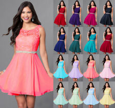 Formal Short Lace Chiffon Prom Party Gown Evening Bridesmaid Cocktail Dress 6-18