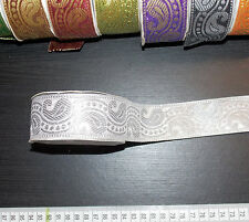 1m 38mm silver jacquard embroidered ribbon lace applique trimming decor