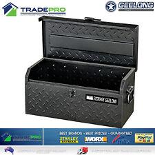 Toolbox Geelong® Trade Tool Box Chest 48cm Black Grey Steel Lockable Ute Storage