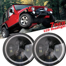 "2x 7"" inch LED Round Headlight Angel Eye Halo DRL For Jeep Wrangler JK CJ 97-17"