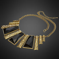 Fashion Jewelry Black Acrylic 14K Yellow Gold Plated Trendy Necklace Choker