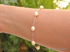 Peach Pink Freshwater Pearl Tincup Bracelet 6-7mm 925 SOLID Sterling Silver