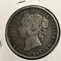 1882-H NEWFOUNDLAND CANADA SILVER 50 CENTS QUEEN VICTORIA