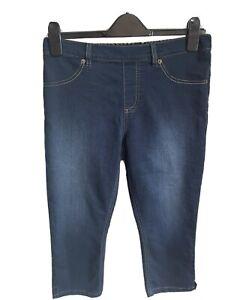 M&S Denim Shorts Knee Length Magic Shaping High Waist Stretch Washed Effect