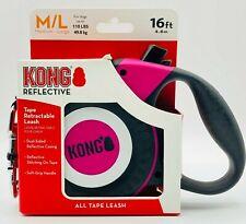 KONG Retractable Dog Leash   Soft Grip   Reflective Tape (Black Pink)