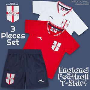 Baby Boys Childrens England Football T-shirts Short 3 Pieces Sets Kits 6-24 Mths