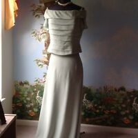 Vintage Lillie Rubin Women's Short Sleeve Pastel Green Silk Skirt Suit Size 14