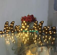 "Black warm light Decorative LED Letters Light ""MR & MRS "" - Batteries Operated"