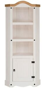 Corona White Corner Display Unit - Mexican Solid Pine, Rustic, Distressed