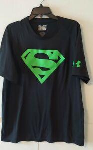 Under Armour Mens Black Alter Ego Superman HeatGear Loose Fit T Shirt XL EUC
