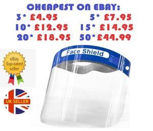FULL FACE SHIELD VISOR CLEAR PLASTIC PPE PROTECTION - UK SELLER