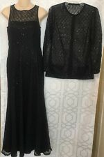 St John Gown With Jacket Black Net Flair Skirt Sleeveless With Sequins Size 2