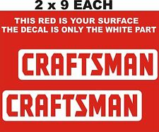 "2- CRAFTSMAN  DECALS-STICKERS- WITH  CUT OUT LETTERS 2 "" X 9"" EACH WHITE"