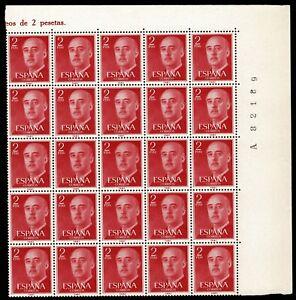Bloque de 25 sellos de España 1955 Franco 2 pesetas Edifil 1157 rojo nuevos