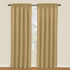 """Eclipse Thermaback Curtain Panel Rod Pocket Antique GOLD 42"""" x 95"""" Saves Energy"""