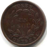 1836-1838 BAS CANADA BANK of MONTREAL UN SOU TOKEN