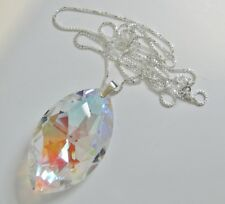 Necklace Made With  50mm Swarovski Marquise & 76cm Sterling Silver Chain