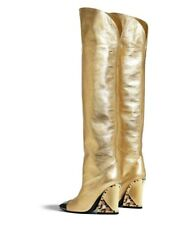 Occident Fashion Womens Pointed Toes Block Heels Club Knee High Boots Shoes Supe