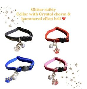 Breakaway Glittery Cat collar with Crystal Charm and Hammer effect Bell
