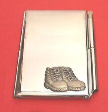 Walking Boots Chrome Notebook / Card Holder & Pen Walker Ramblers Christmas Gift