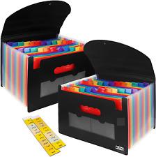 Portable Document File Organizer Accordian Expanding Folder Pocket Plastic Cover