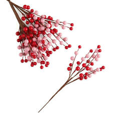 Glossy Red and Pink Artificial Berry Floral Stems | 6 Stems | For Indoor De