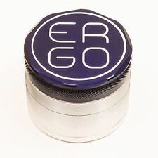 ERGO 2.00 #034; Aluminum 4 PC herb GRINDER SET BUILT IN FIXED SCREEN 50mm BLUE