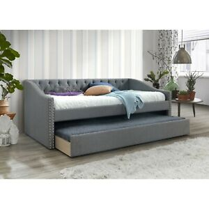Brand New Grey Linen Fabric Twin Size Daybed With Twin Size Trundle