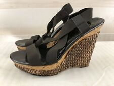 BCBGirls Black Stretchy Wedges High Heel Sandals Wood Rattan Casual 9.5