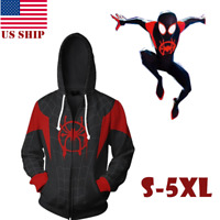 US! Mens Spider-Man Into the Spider-Verse Miles Morales Hoodie Sweatshirt Jacket