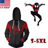 US! Mens Spider-Man Into the Spider-Verse Miles Morales Hoodie Sweatshirt Jacket