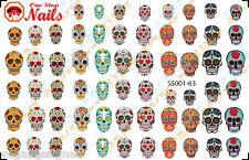 63 Sugar Skull Nail Art Stickers Transfers Decals Tattoo, Dia de los Muertos SS1