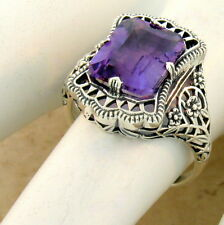 Nouveau Style Ring Size 10, #964 Genuine Amethyst 925 Sterling Silver Antique