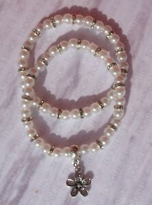 SET OF 2 PEARL & GLASS RONDELLE BEADED STRETCH BRACELETS WITH FLOWER CHARM (058)