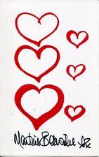 007 Bond girl Martine Beswick signed art doodle 'Six Hearts'
