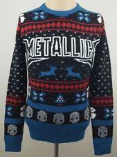 METALLICA Men Crewneck Christmas Sweater Skulls Mistletoe Snowmen Reindeer Sz XS