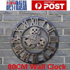 80cm Handmade Wooden Clock Vintage Rustic Luxury Art Vintage Gear Wall Clock AU