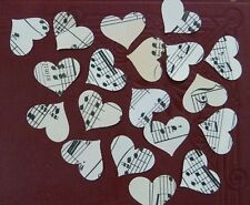 """500 x 1"""" Heart Vintage Music Sheet Table Confetti Weddings Toppers VALENTINE !"""