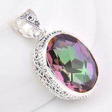 Huge Retro Style Rainbow Mystic Topaz Gemstone Vintage Silver Necklace Pendants