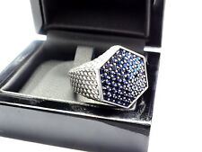 Men's Silver Custom Hexagon Ring With Blue Sapphires by Sacred Angels