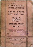VILLIERS Mk 2.F. Original Motorcycle Handbook and Parts List 1955 VEC.101