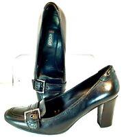 ECCO Pumps Women's EUR Size 38 US 7 - 7.5 Black Leather Buckle Slip On Heel Shoe