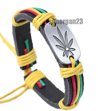 Tribal Weed  Leaf Africa Style  Adjustable Real Leather Wrist Bracelet Bangle
