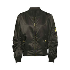 Women Ladies Satin Ma1 Bomber Jacket Vintage Summer Coat Flight Army Biker Retro Bronze UK Xl(16)