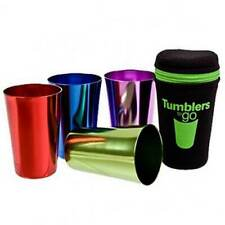 4 Set Tumblers To Go Anodised Classic Retro Steel Drinking Colour Cups With Case