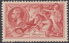 1934 RE-ENGRAVED SEAHORSES SG451 5s BRIGHT ROSE RED UNMOUNTED MINT