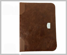 A4 Leather Business Conference Folder Document Organiser Zip Bag Padded Brown