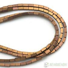 Hematite Gemstone Rectangular Bar Beads 16'' Metallic Silver Gold Multi-Colored